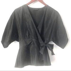 The Limited 100% Silk Wrap Kimono Sleeve Blouse S